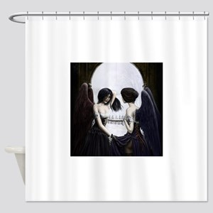 skull illusion coloured gn high res Shower Curtain