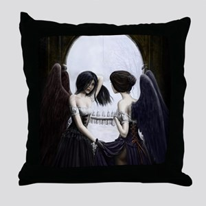 skull illusion coloured gn high res Throw Pillow