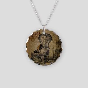 Vintage Paris Scripts Necklace Circle Charm
