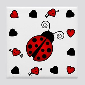 Cute Red Ladybug Framed by Hearts Tile Coaster