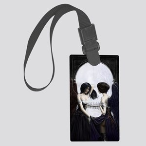skull illusion for clipboard Large Luggage Tag