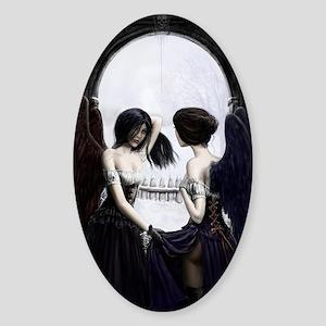 skull illusion for clipboard Sticker (Oval)