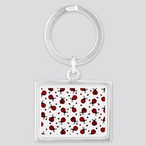 Cute Red Ladybug and Hearts Pri Landscape Keychain