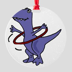 Funny T-rex Dinosaur Playing Hula H Round Ornament