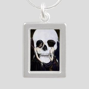 skull illusion Silver Portrait Necklace