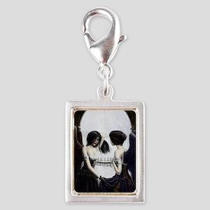 skull illusion Silver Portrait Charm