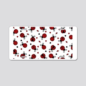 Cute Red Ladybug and Hearts Aluminum License Plate