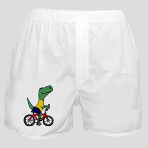 T-rex Dinosaur Riding Bicycle Cartoon Boxer Shorts