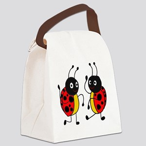 Funny Ladybugs Dancing Canvas Lunch Bag