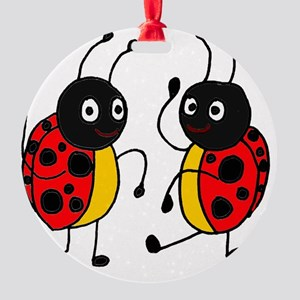 Funny Ladybugs Dancing Round Ornament