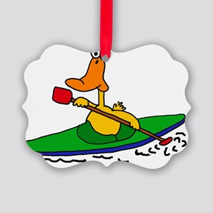 Funny Duck Kayaking Picture Ornament