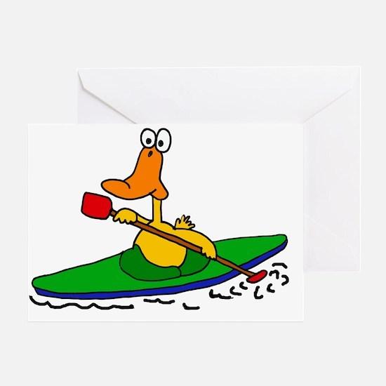 Funny Duck Kayaking Greeting Card