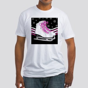 Pink and Black Ice Skating and Snow Fitted T-Shirt