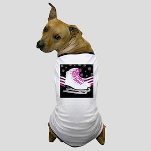 Pink and Black Ice Skating and Snowfla Dog T-Shirt