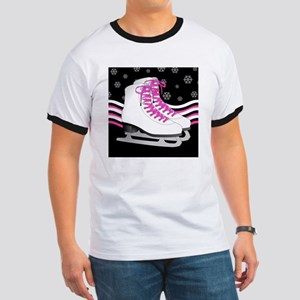 Pink and Black Ice Skating and Snowflake  Ringer T