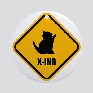 Cat Crossing Round Ornament