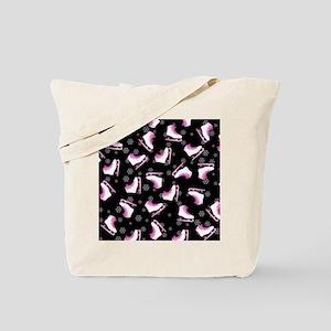 Pink and Black Ice Skating and Snowflake  Tote Bag