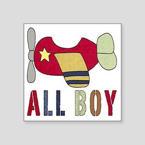 "All Boy (2) Airplane Square Sticker 3"" x 3"""