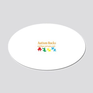 Autism rocks 20x12 Oval Wall Decal