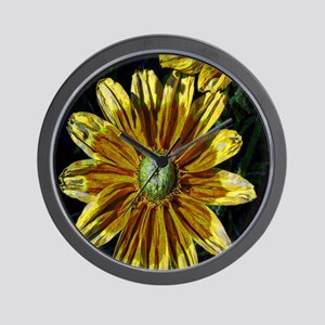 Abstract Yellow Flowers Wall Clock