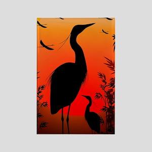 Heron Shape on Stunning Sunset Rectangle Magnet