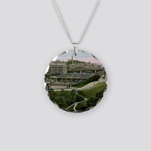 Edinburgh, Scotland, Vintage Necklace Circle Charm
