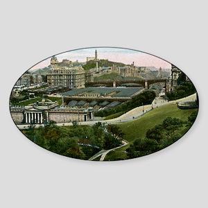 Edinburgh, Scotland, Vintage Sticker (Oval)