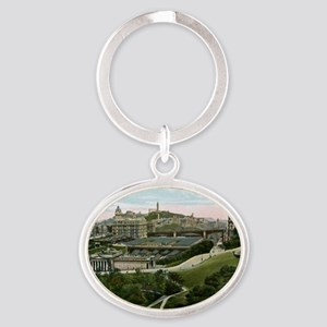 Edinburgh, Scotland, Vintage Oval Keychain