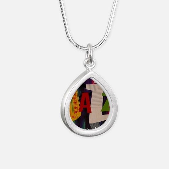 Vintage New Orleans Trav Silver Teardrop Necklace