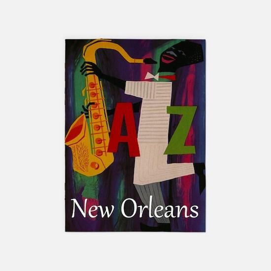 Vintage New Orleans Travel 5 X7 Area Rug