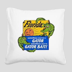 Florida Gator Bait Square Canvas Pillow