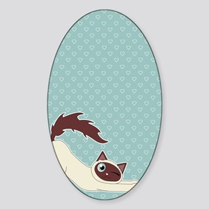 Cute Ragdoll Cat - Siamese Markings Sticker (Oval)