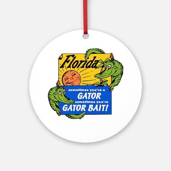 Florida Gator Bait Round Ornament