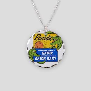 Florida Gator Bait Necklace Circle Charm