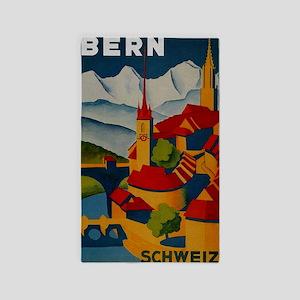 Vintage Bern Switzerland Travel 3'x5' Area Rug