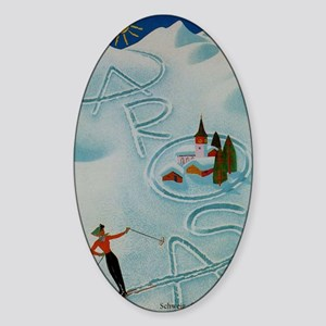 Vintage Arosa Switzerland Travel Sticker (Oval)