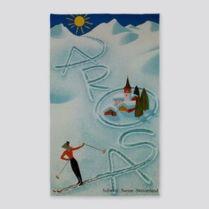 Vintage Arosa Switzerland Travel 3'x5' Area Rug