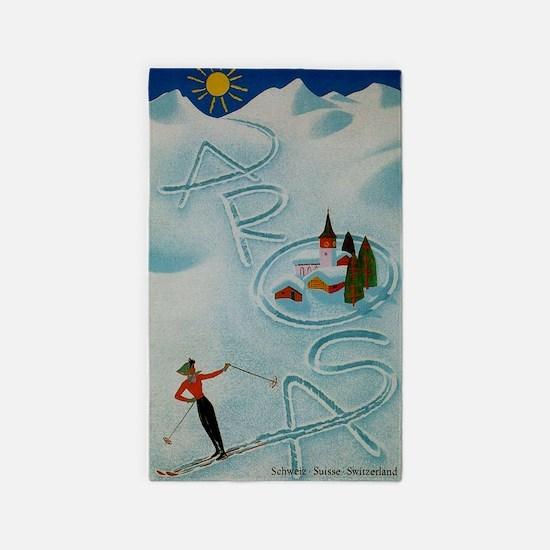 Vintage Arosa Switzerland Travel 3'x5' Area Rug