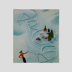 Vintage Arosa Switzerland Travel Throw Blanket