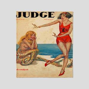 Vintage Mermaid and Flapper Throw Blanket