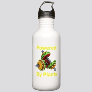 Yellow Text Powered by Stainless Water Bottle 1.0L