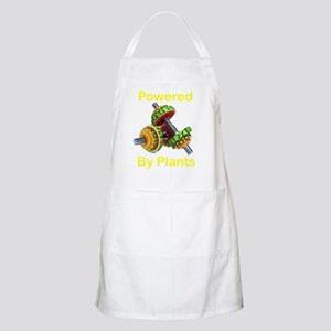 Yellow Text Powered by Plants fruit dumbbell Apron