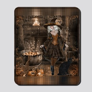 Brewing Witch w/Black Cat 2 Mousepad