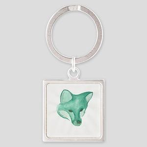 Foxy Head (teal) Square Keychain