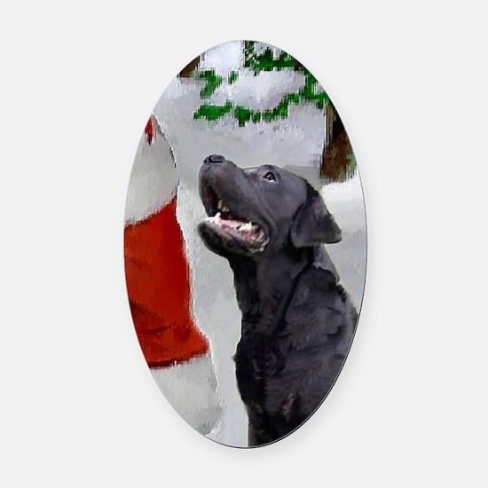 Labrador Retriever Christmas Oval Car Magnet