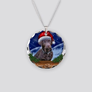 Labrador Retriever Christmas Necklace Circle Charm