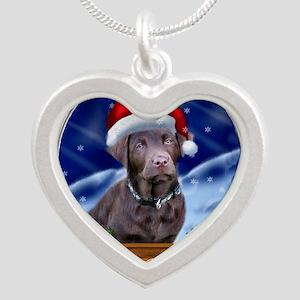 Labrador Retriever Christmas Silver Heart Necklace