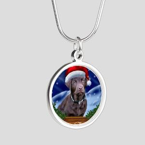Labrador Retriever Christmas Silver Round Necklace