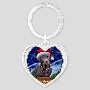 Labrador Retriever Christmas Heart Keychain