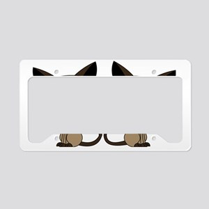 Cute Siamese Cats Tail Heart License Plate Holder